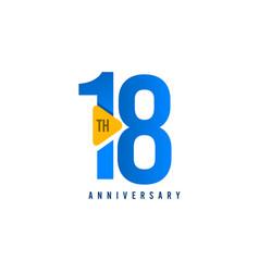 18 years anniversary celebration template design vector