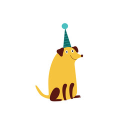 A smiling pooch dog sits in a cone hat vector
