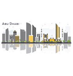 abu dhabi uae city skyline with gray buildings vector image