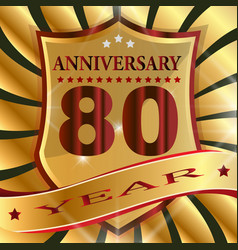 anniversary 80 th label with ribbon vector image
