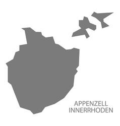 Appenzell innerrhoden switzerland map grey vector