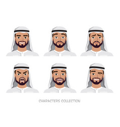 arab man character set of emotions vector image