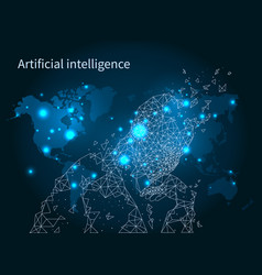 Artificial intelligence map network poster vector