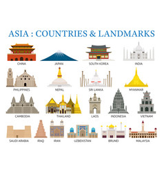 Asia countries landmarks in flat style vector