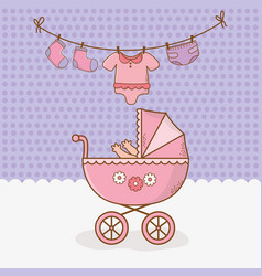 bashower card with pink cart vector image