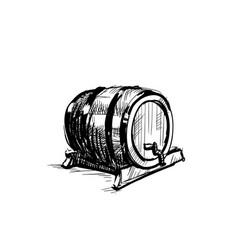 beer barrel wooden icon sketch oktoberfest vector image
