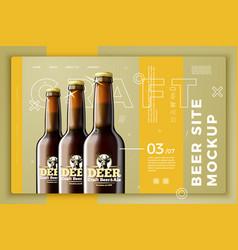 beer bottles on bright modern site template vector image