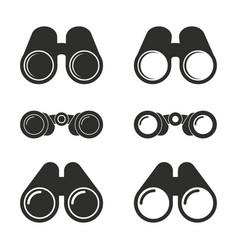 Binocular icons set vector