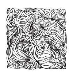 Black and white bandana print design with line art vector