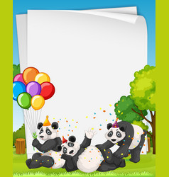 Blank banner with many panda in party theme vector
