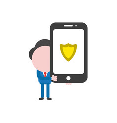 businessman holding smartphone with guard shield vector image