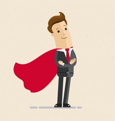 businessman in a red cloak superhero of business vector image