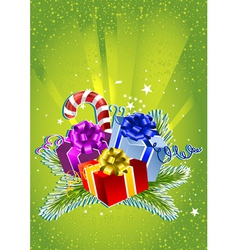 Card with colorful gift boxes vector image