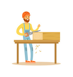 Carpenter man sawing wood in his workshop vector