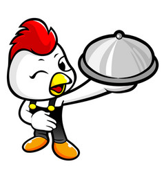 Cock character holding a food pot isolated on vector