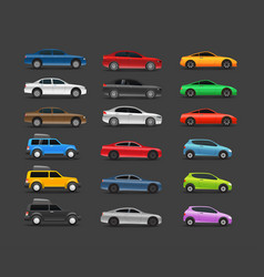 color modern cars collection vector image