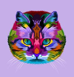 colorful cat on abstract pop art vector image