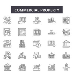 Commercial property line icons signs set vector