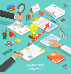 Competitive analysis flat isometric concept vector