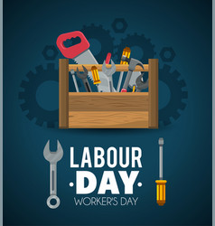 Construction tools to labour day celebration vector