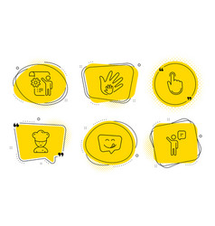 cooking chef hand click and yummy smile icons set vector image