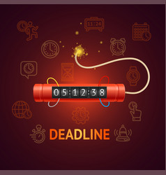 deadline concept with realistic detailed 3d red vector image