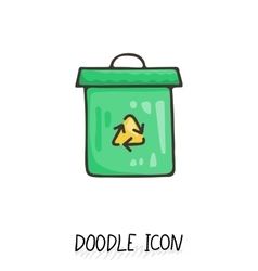 Doodle recycle bin icon Trash can vector image