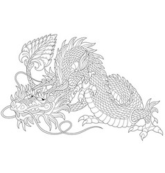 Dragon adult coloring page vector