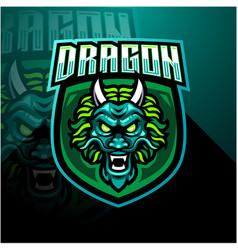 Dragon head esports mascot logo design vector