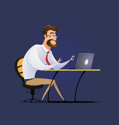 employee funny cartoon character man sitting at vector image