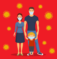 Family in respiratory protective mask vector