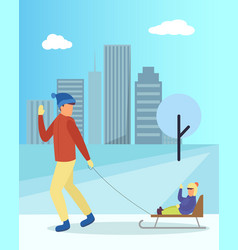 family walking with sledge in winter park vector image