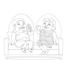 fat people on the couch white and black vector image