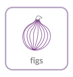 figs icon purple outline flat sign isolated vector image