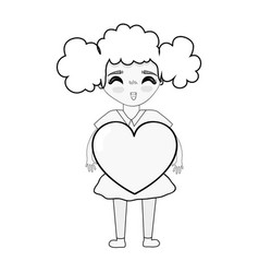 figure pretty girl with heart in the hand and vector image