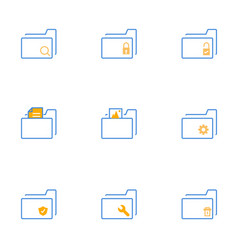 folder simple line icons vector image