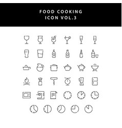 food cooking icon set outline set vol 3 vector image