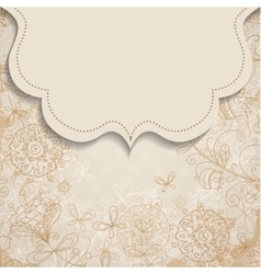 Frame on vintage background with floral patterns vector
