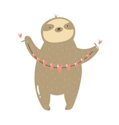 Funny sloth holding garland hearts vector