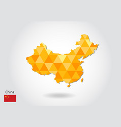 geometric polygonal style map of china low poly vector image