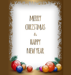 gold greeting card with christmas decoration vector image