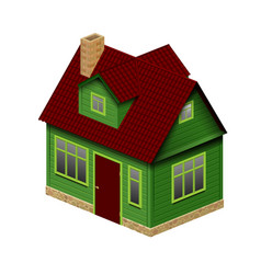 green realistic house in perspective geometry vector image