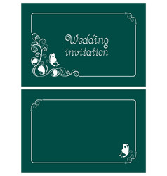 green wedding invitation and save date cards vector image