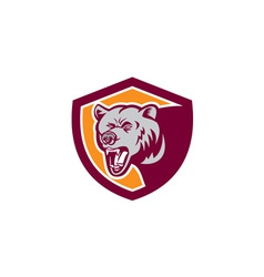 Grizzly Bear Head Shield Retro vector