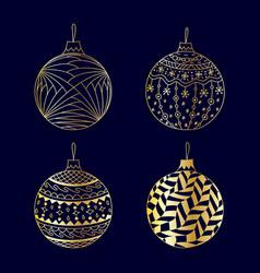 hand drawn gold christmas ball toy set vector image