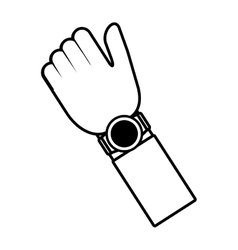 hand smart watch wearable outline vector image