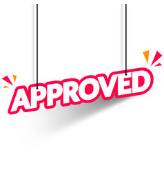 hanging banner with text approved web label vector image