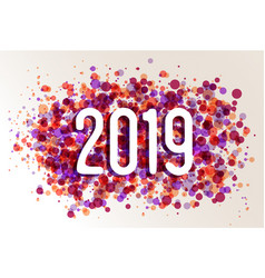Happy new year 2019 circle color splash background vector