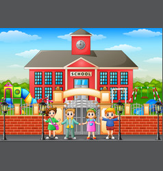 happy school children stand vector image
