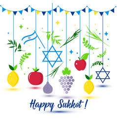 Happy sukkot holiday jewish holiday sukkot vector